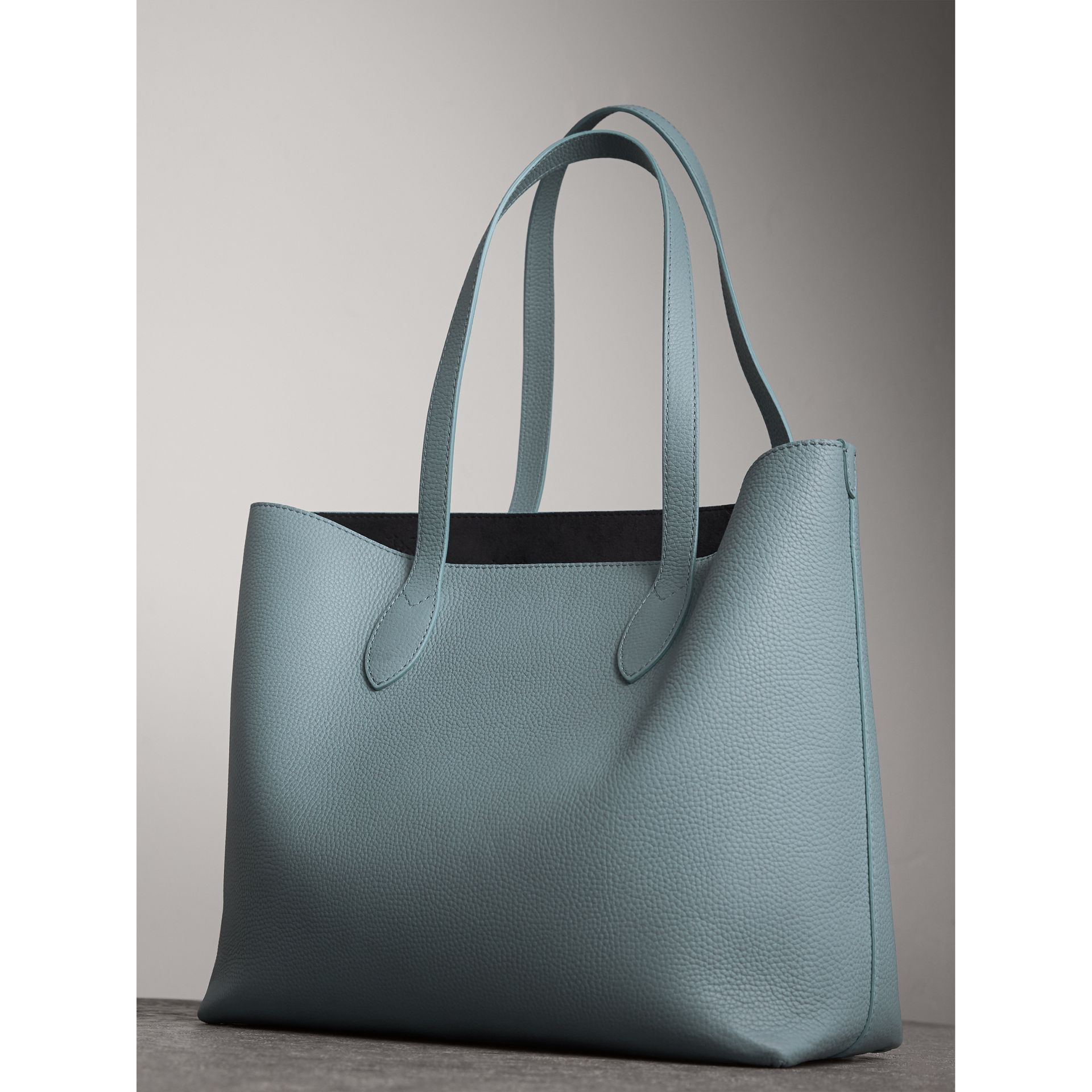 Medium Embossed Leather Tote in Dusty Teal Blue | Burberry - gallery image 4
