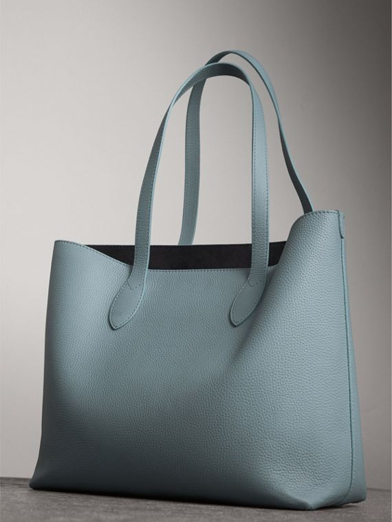 Large Embossed Leather Tote in Dusty Teal Blue | Burberry - cell image 3