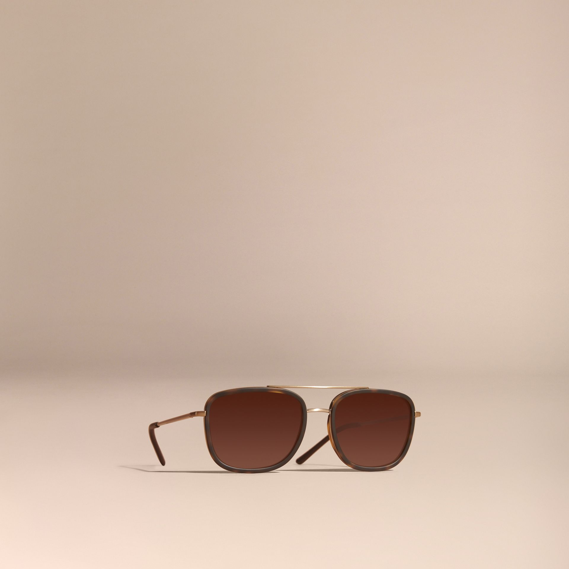 Casco de tartaruga Óculos de sol com armação quadrada de acetato e detalhe em couro Casco  Tartaruga - galeria de imagens 1