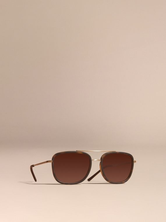 Square Frame Acetate and Leather Sunglasses Tortoise Shell