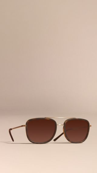 Square Frame Acetate and Leather Sunglasses