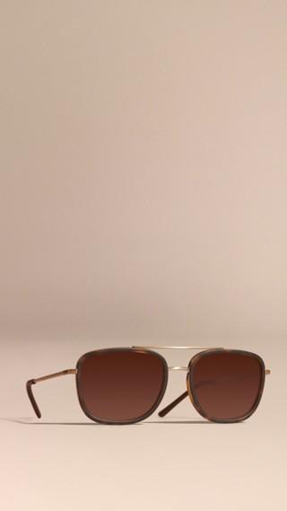 Lunettes de soleil à monture carrée en acétate et cuir