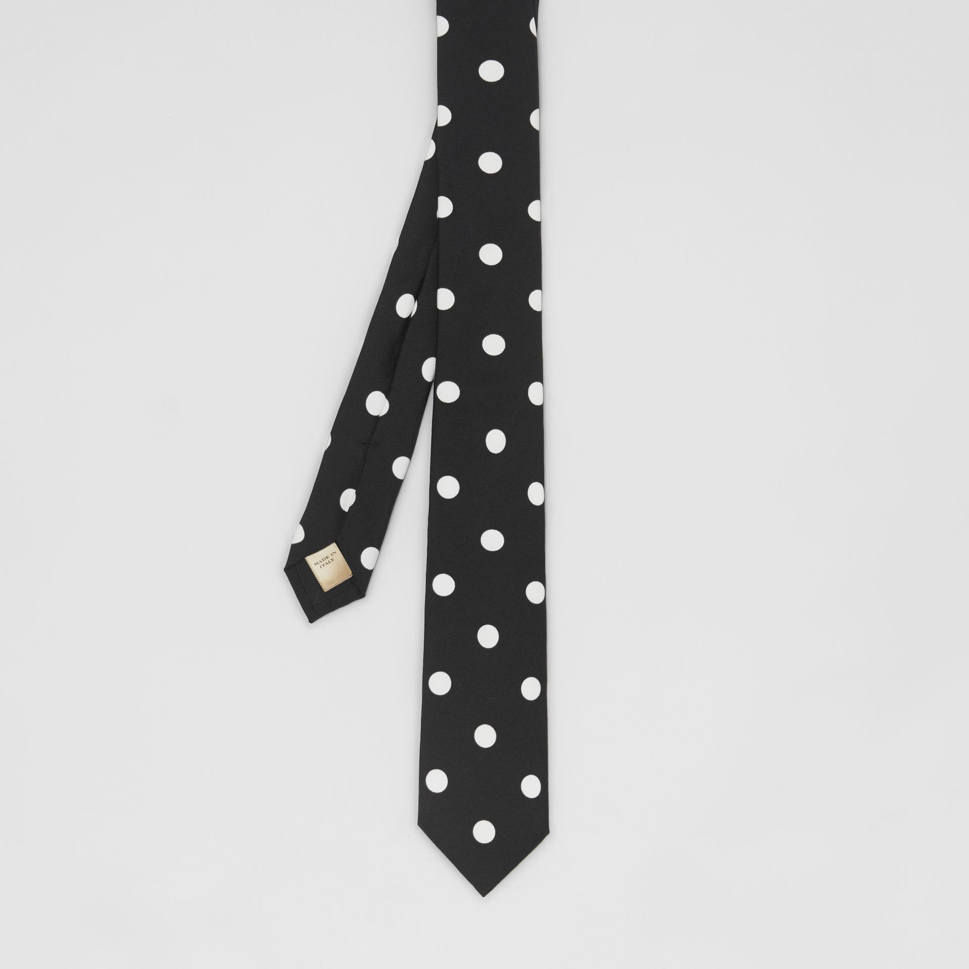 Slim Cut Spot Print Silk Tie in Black - Men | Burberry - gallery image 3