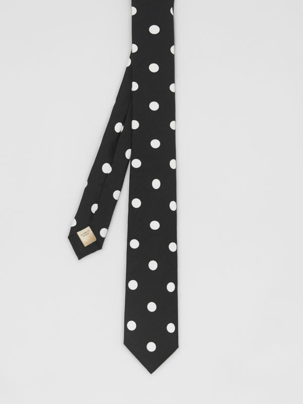 Slim Cut Spot Print Silk Tie in Black - Men | Burberry - cell image 3