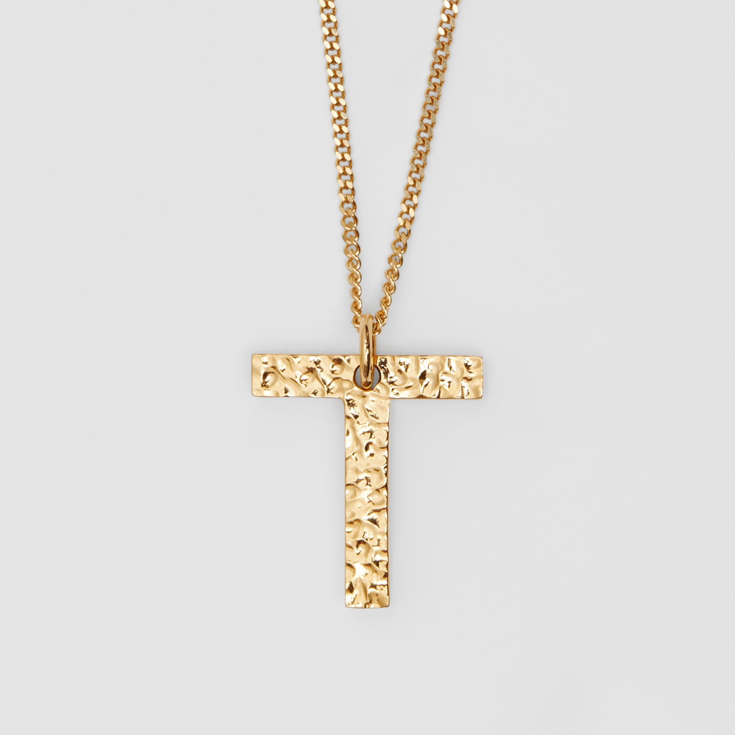 'T' Alphabet Charm Gold-plated Necklace in Light - Women | Burberry - 3