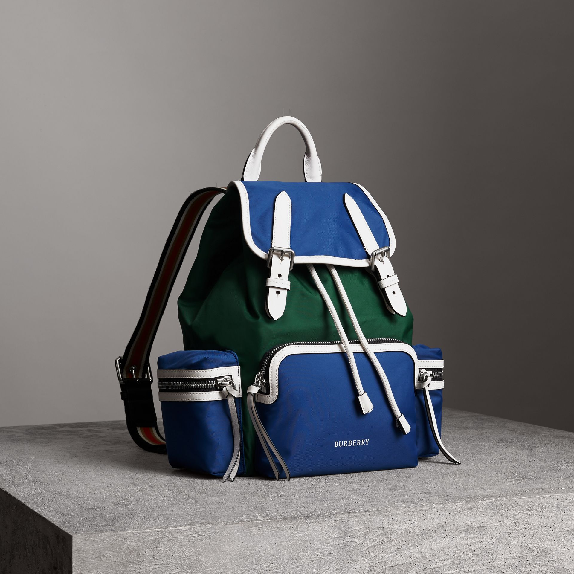 The Medium Rucksack in Colour Block Nylon and Leather in Dark Canvas Blue - Women | Burberry United States - gallery image 0