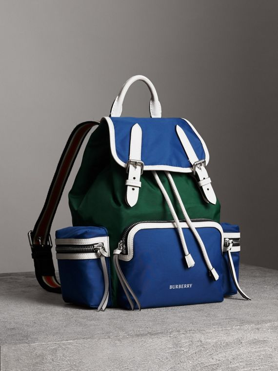 The Medium Rucksack in Colour Block Nylon and Leather in Dark Canvas Blue