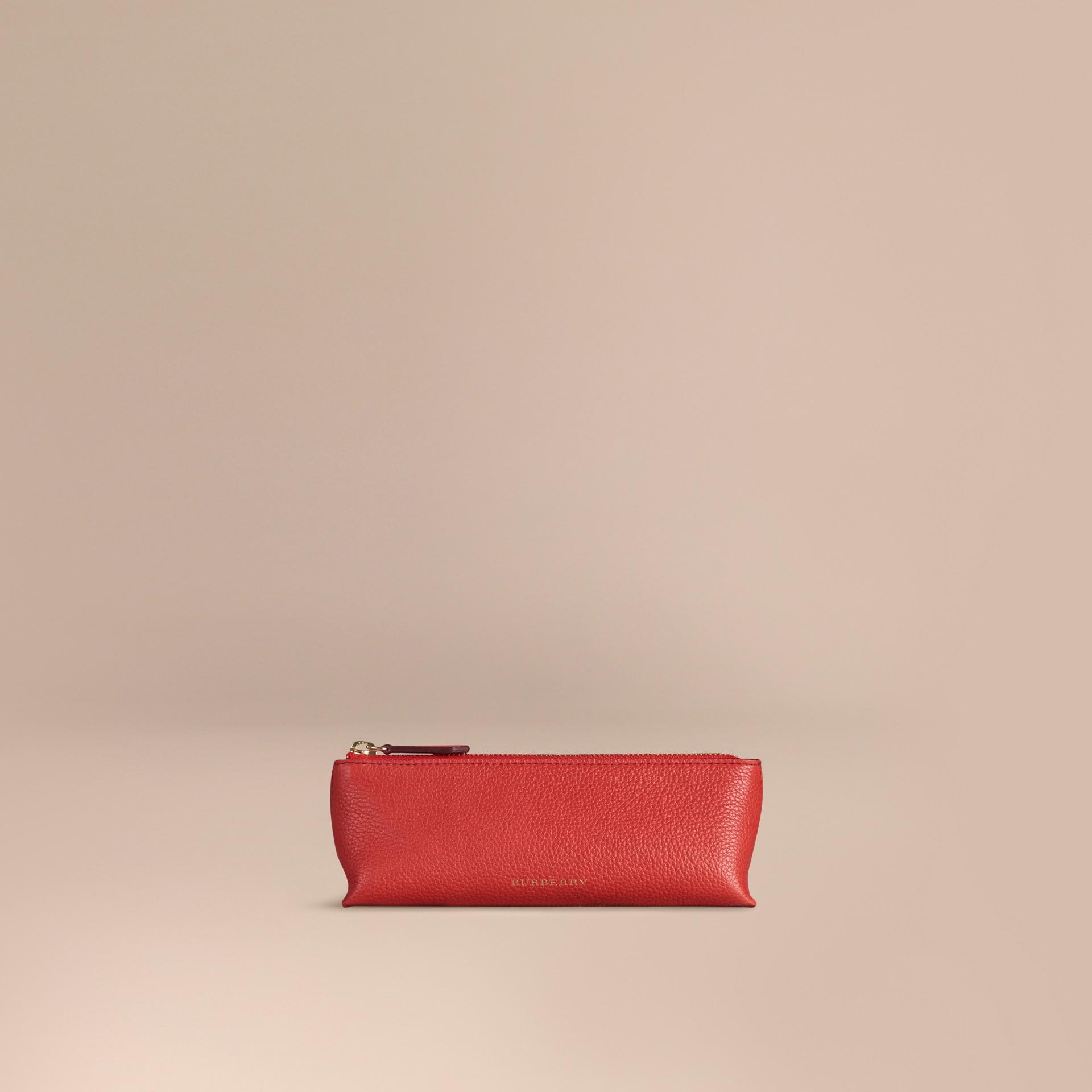 Rouge orangé Petite pochette pour accessoires numériques en cuir grainé Rouge Orangé - photo de la galerie 1