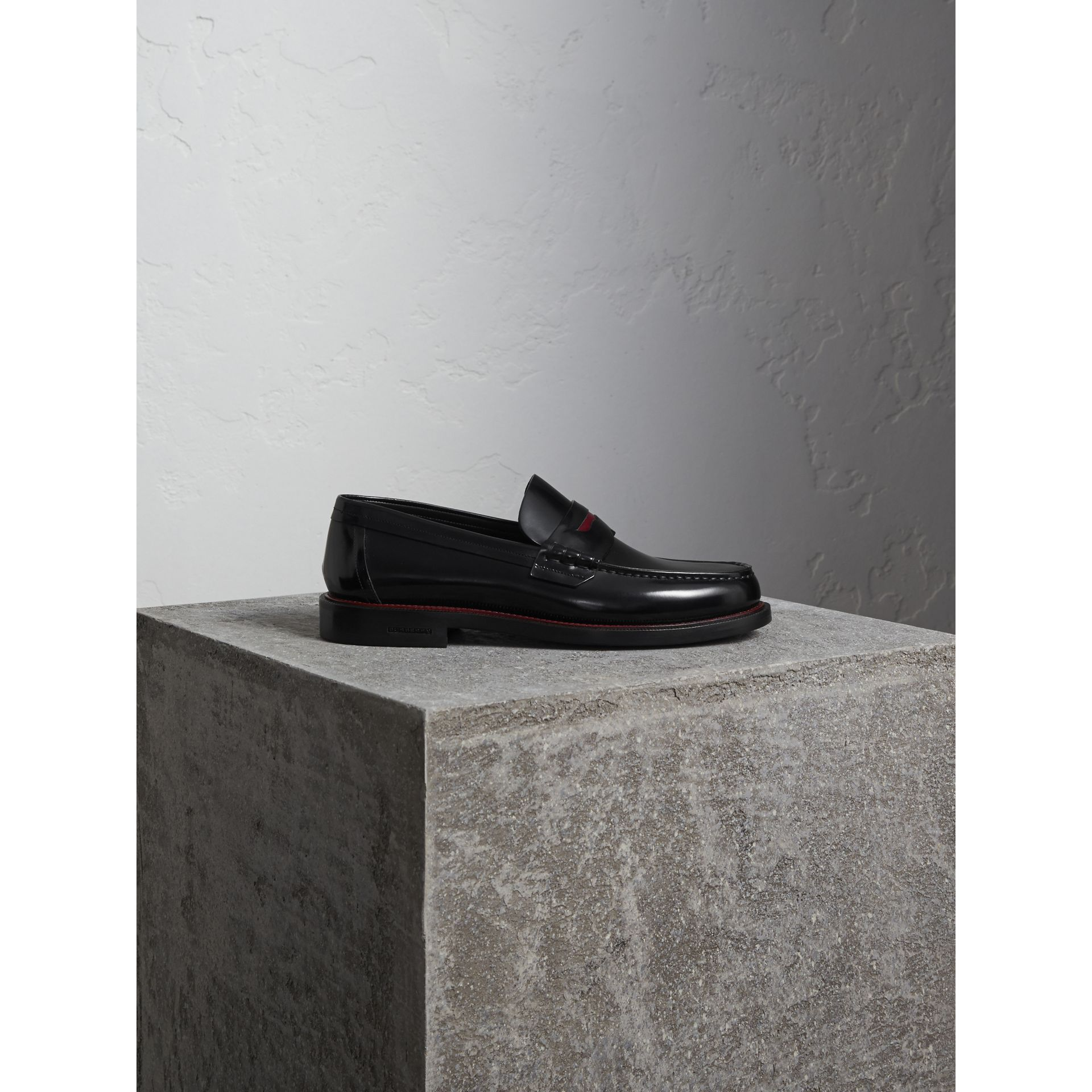 Two-tone Leather Penny Loafers in Black - Men | Burberry Canada - gallery image 0