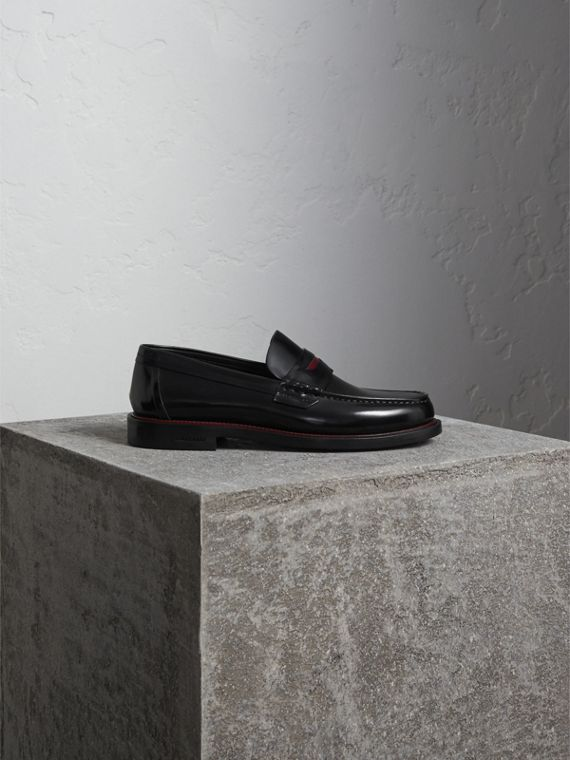 Two-tone Leather Penny Loafers in Black