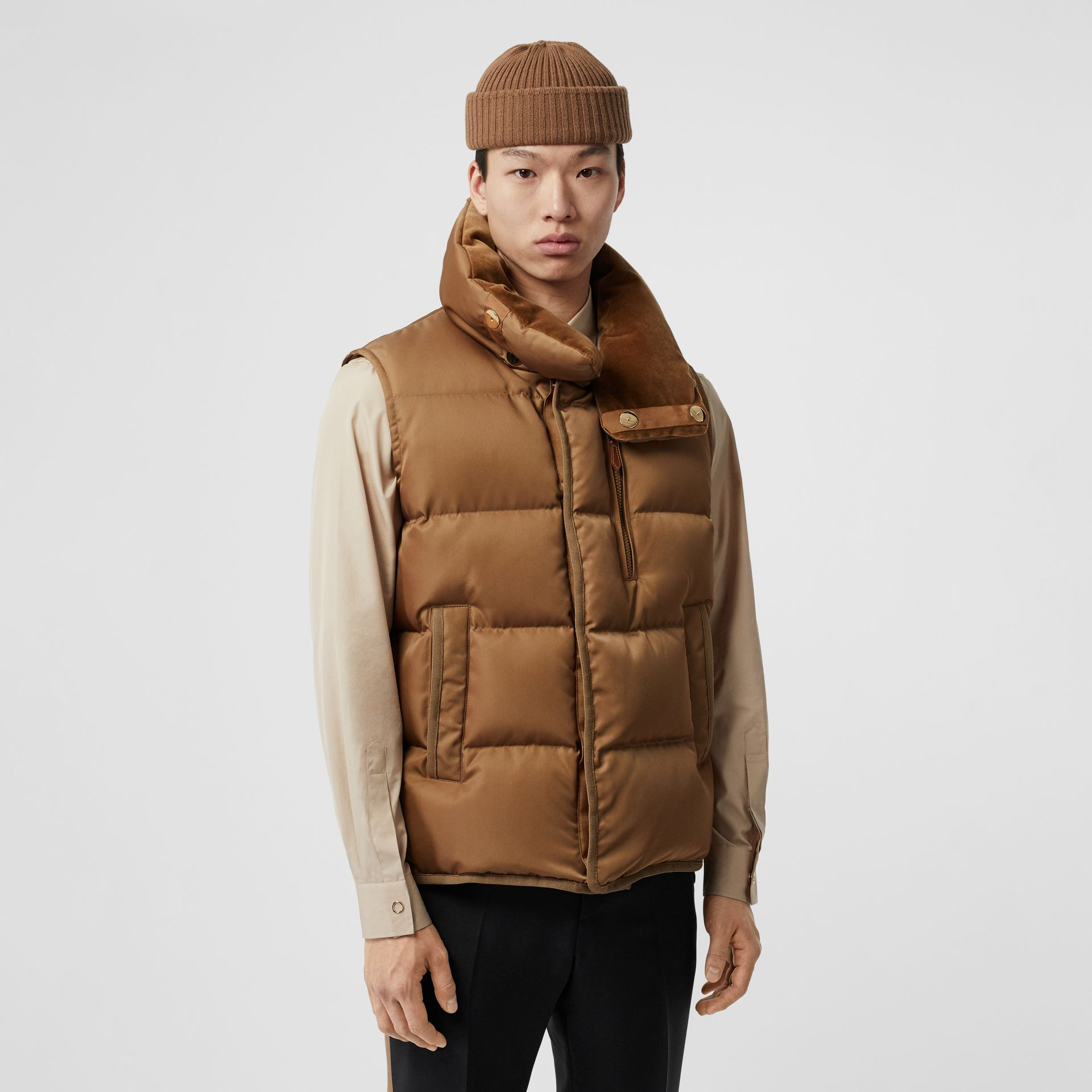 Velvet Trim Down-filled Nylon Puffer Gilet in Warm Walnut - Men | Burberry - gallery image 0
