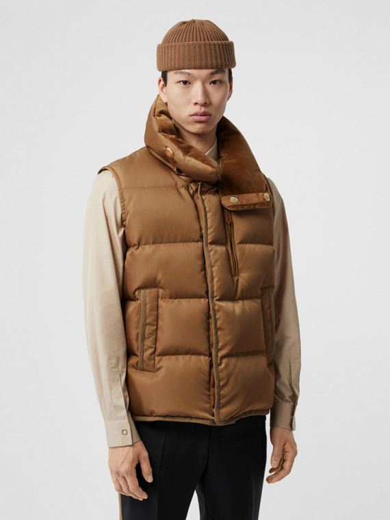 Velvet Trim Down-filled Nylon Puffer Gilet in Warm Walnut