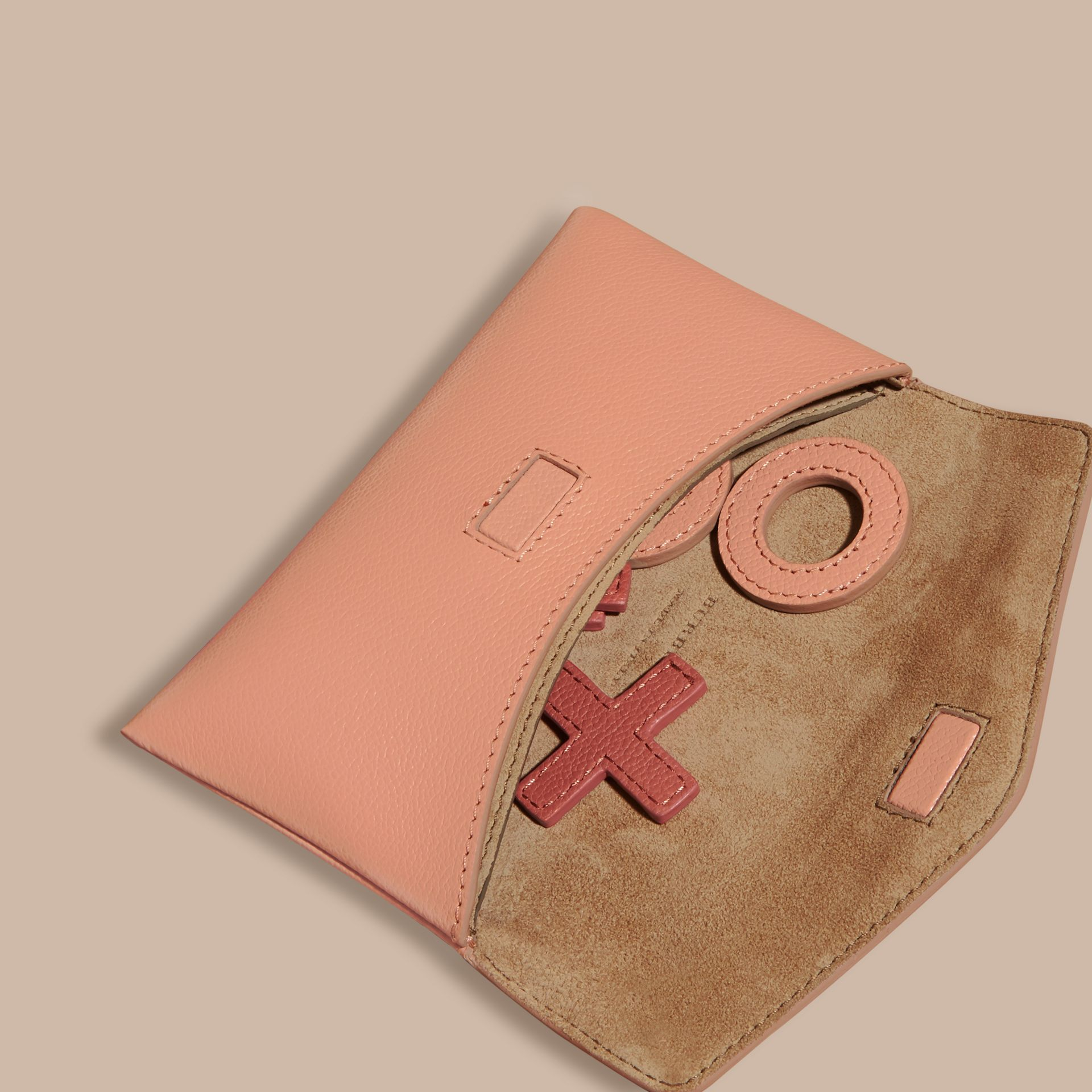 Leather Noughts and Crosses Set and Case in Pink Apricot | Burberry - gallery image 4