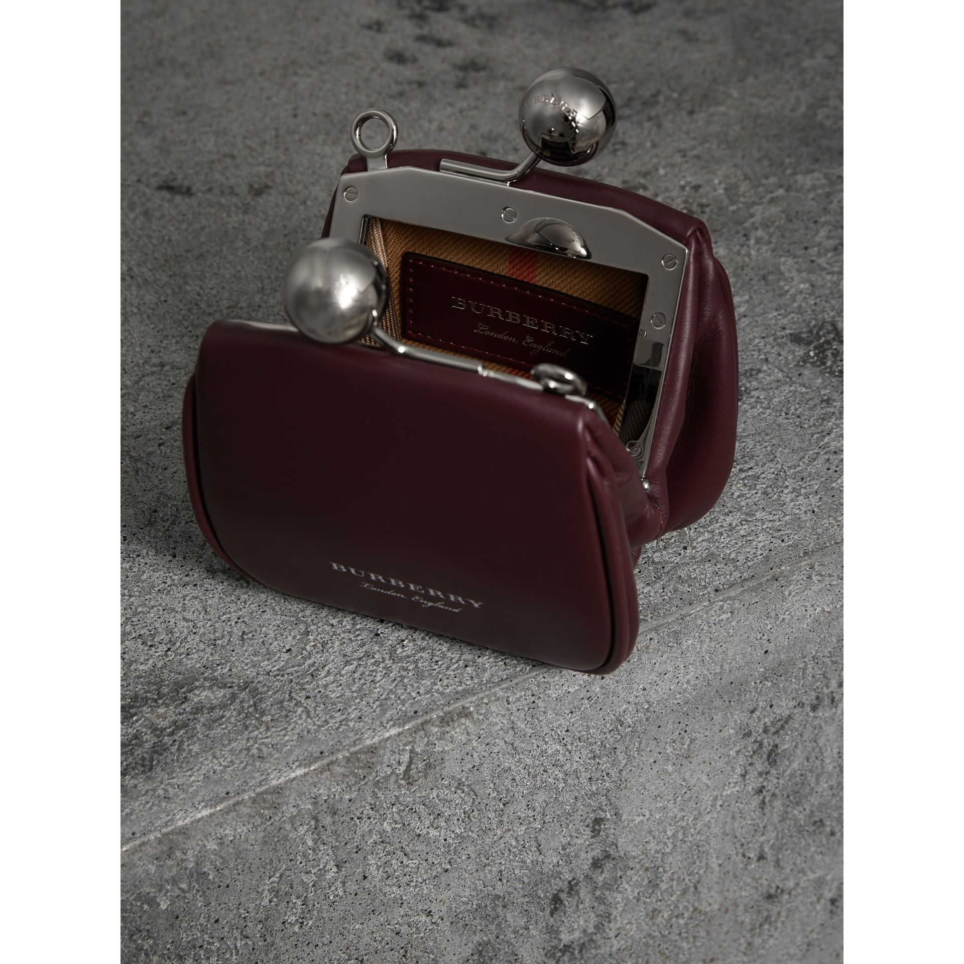 Mini Two-tone Leather Frame Bag in Burgundy - Women | Burberry - gallery image 5