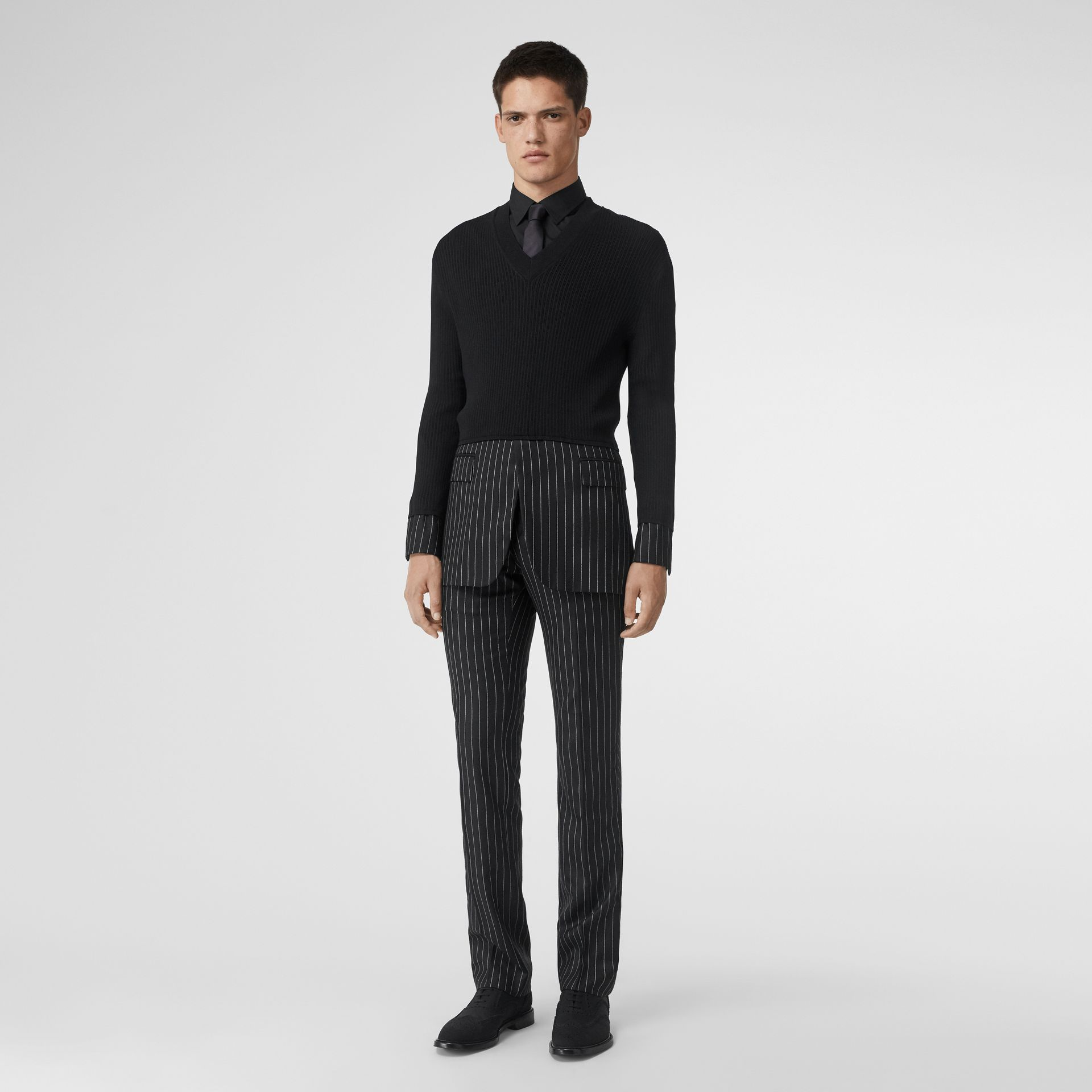 Tailored Panel Rib Knit Silk Blend Sweater in Black | Burberry Australia - gallery image 0