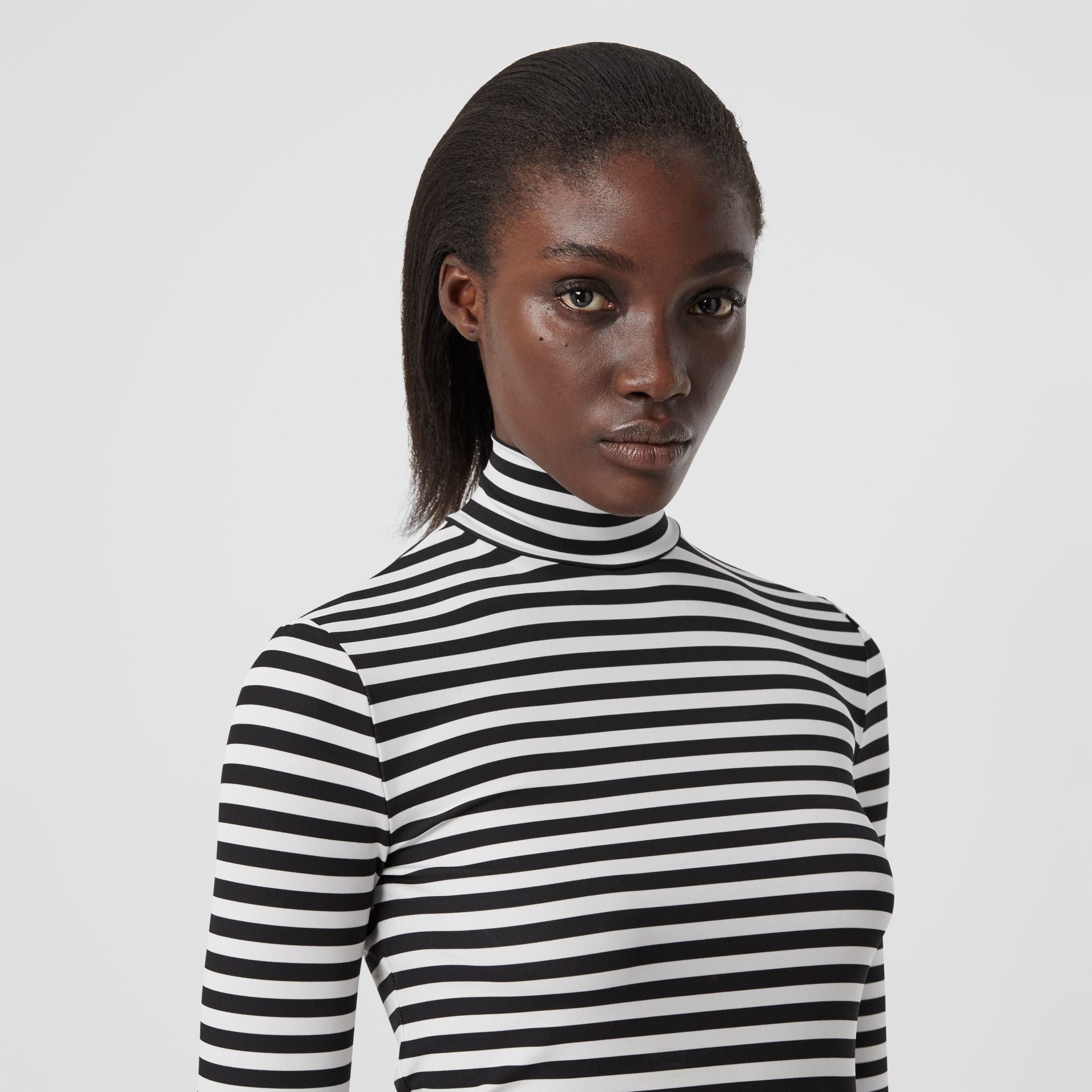 Striped Stretch Jersey Turtleneck Top in Black/white - Women | Burberry - gallery image 1