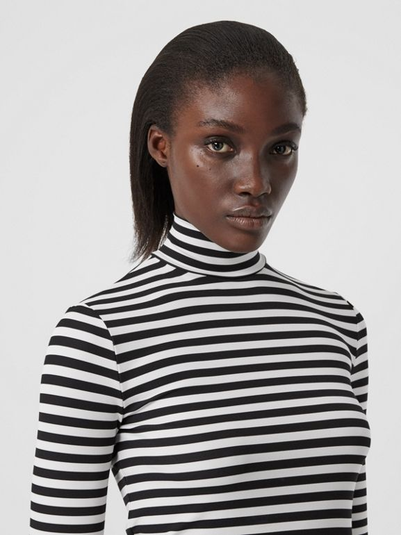 Striped Stretch Jersey Turtleneck Top in Black/white - Women | Burberry - cell image 1