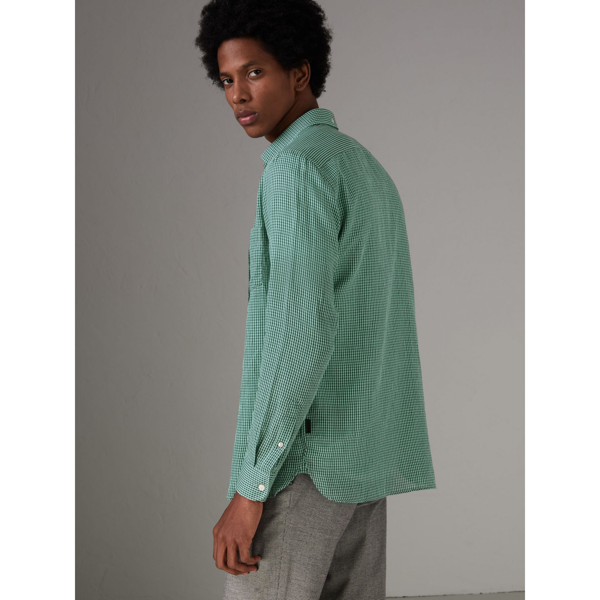 Button-down Collar Gingham Cotton Shirt in Aqua Green - Men | Burberry - gallery image 2