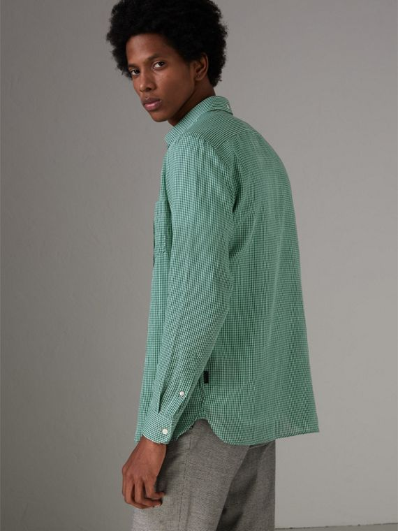 Button-down Collar Gingham Cotton Shirt in Aqua Green