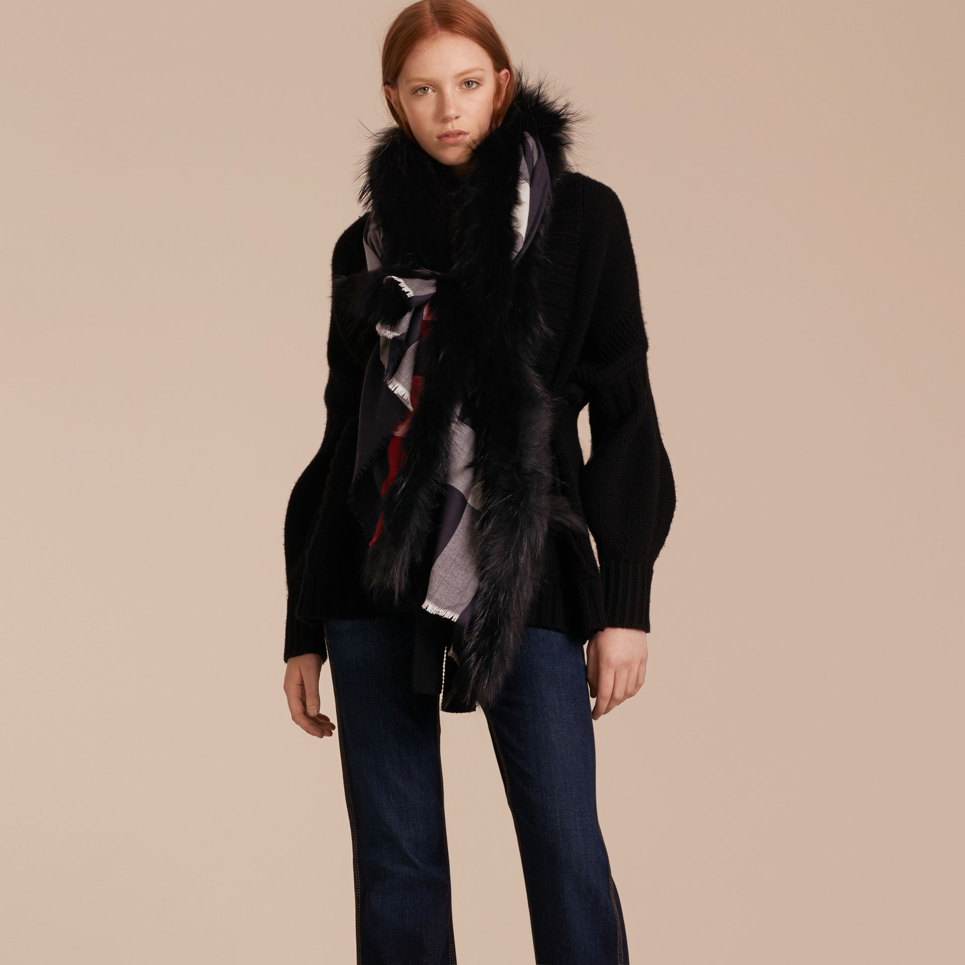 Raccoon Trim Check Wool Cashmere Scarf in Navy - Women | Burberry - gallery image 3