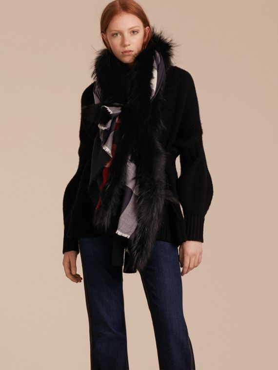 Raccoon Trim Check Wool Cashmere Scarf in Navy - Women | Burberry - cell image 2