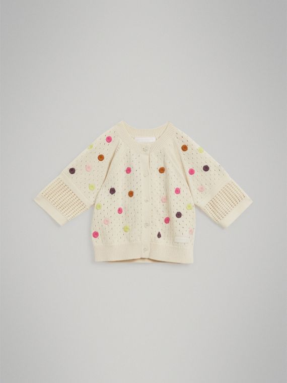 Embroidered Cotton Cashmere Cardigan in Natural White