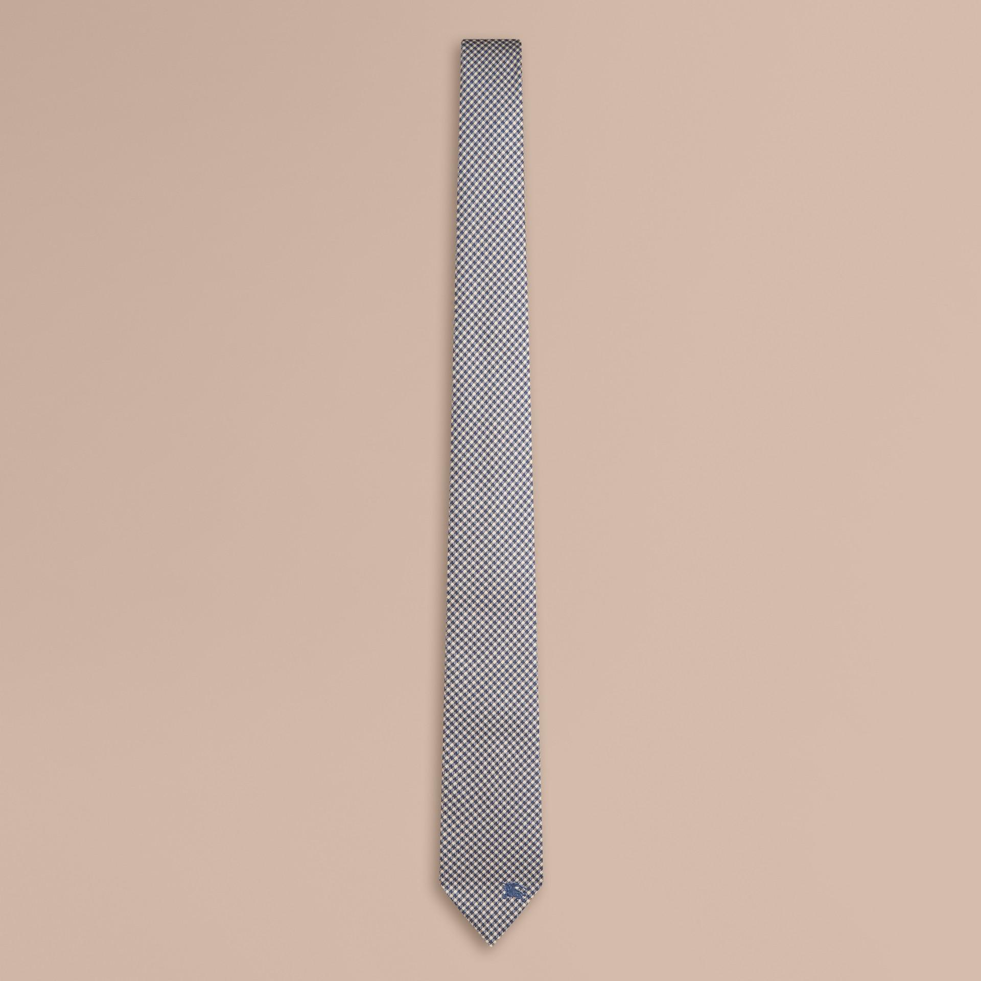 Hydrangea blue Slim Cut Check Silk Tie Hydrangea Blue - gallery image 1