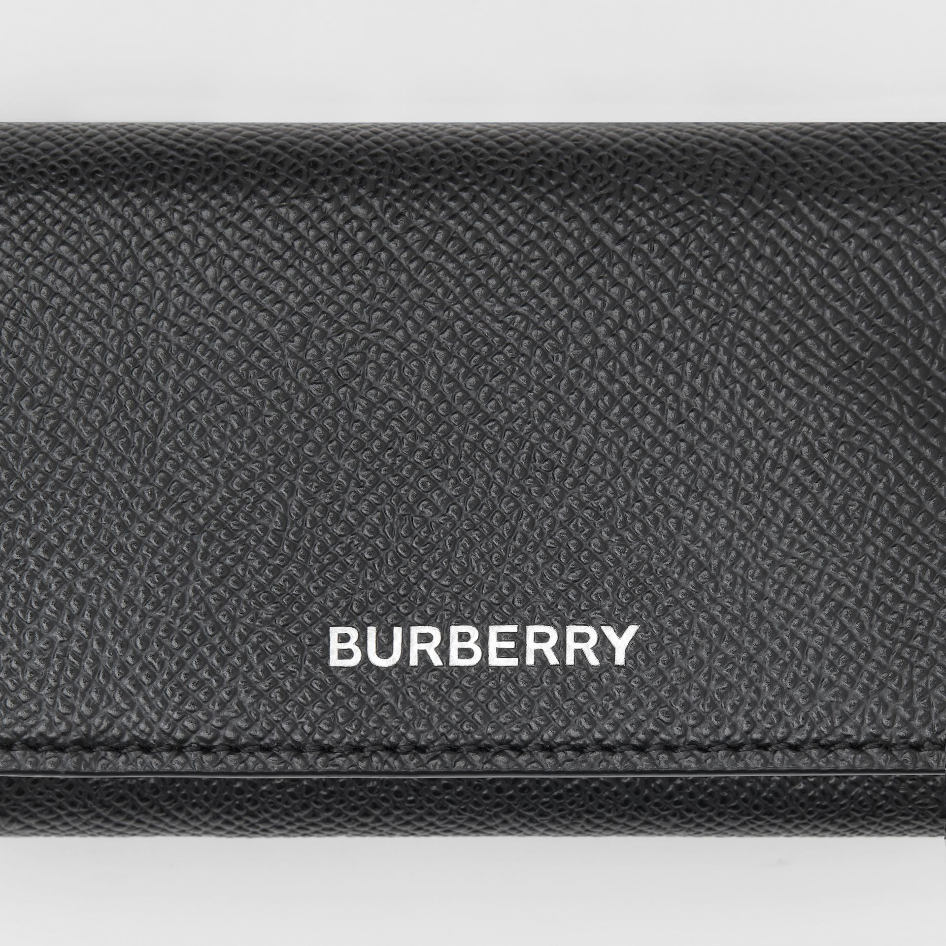 Small Grainy Leather Folding Wallet in Black - Men | Burberry - gallery image 1