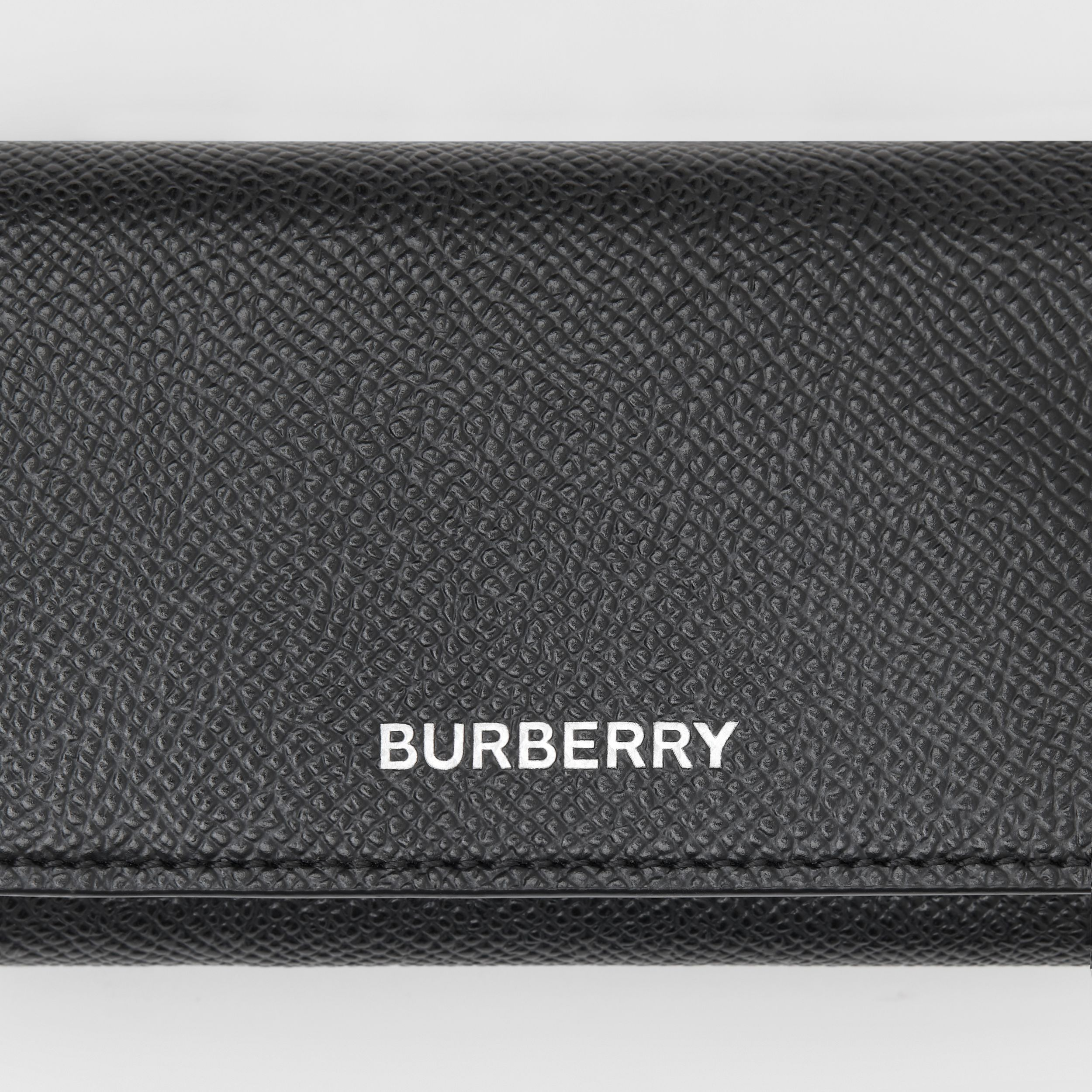Small Grainy Leather Folding Wallet in Black - Men | Burberry - 2