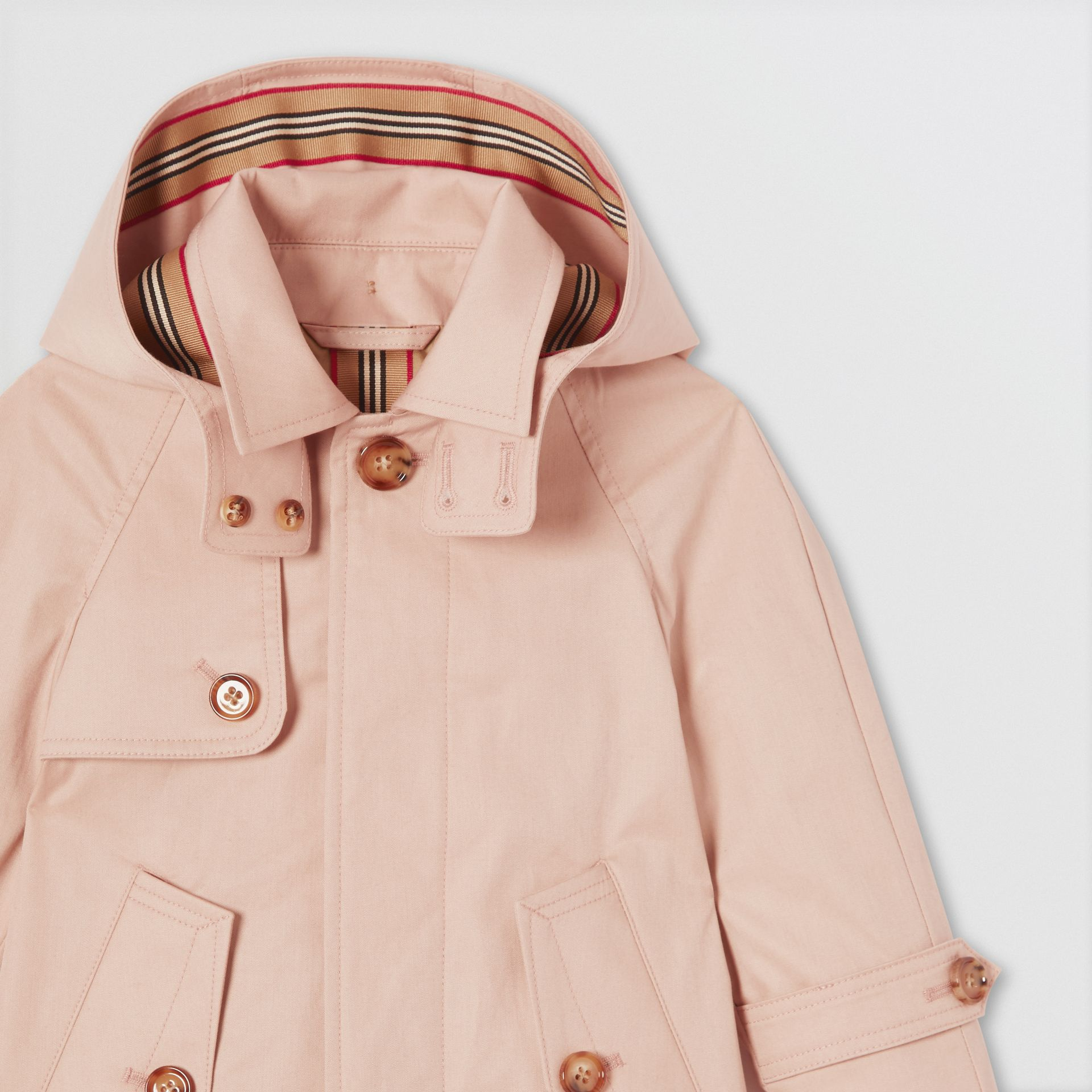 Detachable Hood Cotton Twill Car Coat in Ice Pink - Children | Burberry - gallery image 4