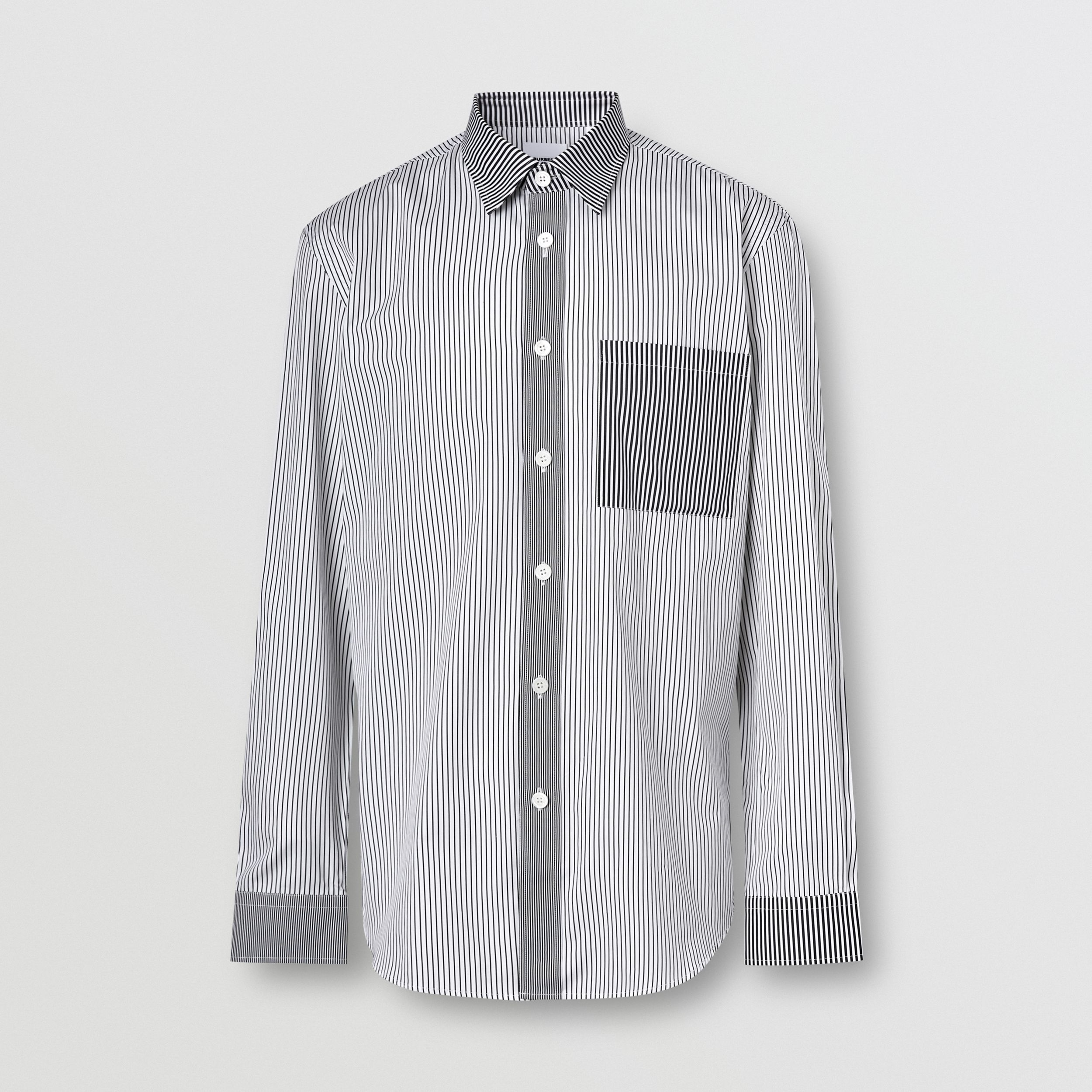 Classic Fit Contrast Stripe Cotton Shirt in Black - Men | Burberry - 4