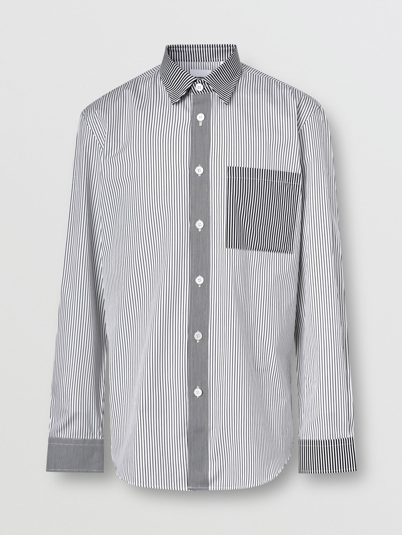 Classic Fit Contrast Stripe Cotton Shirt in Black
