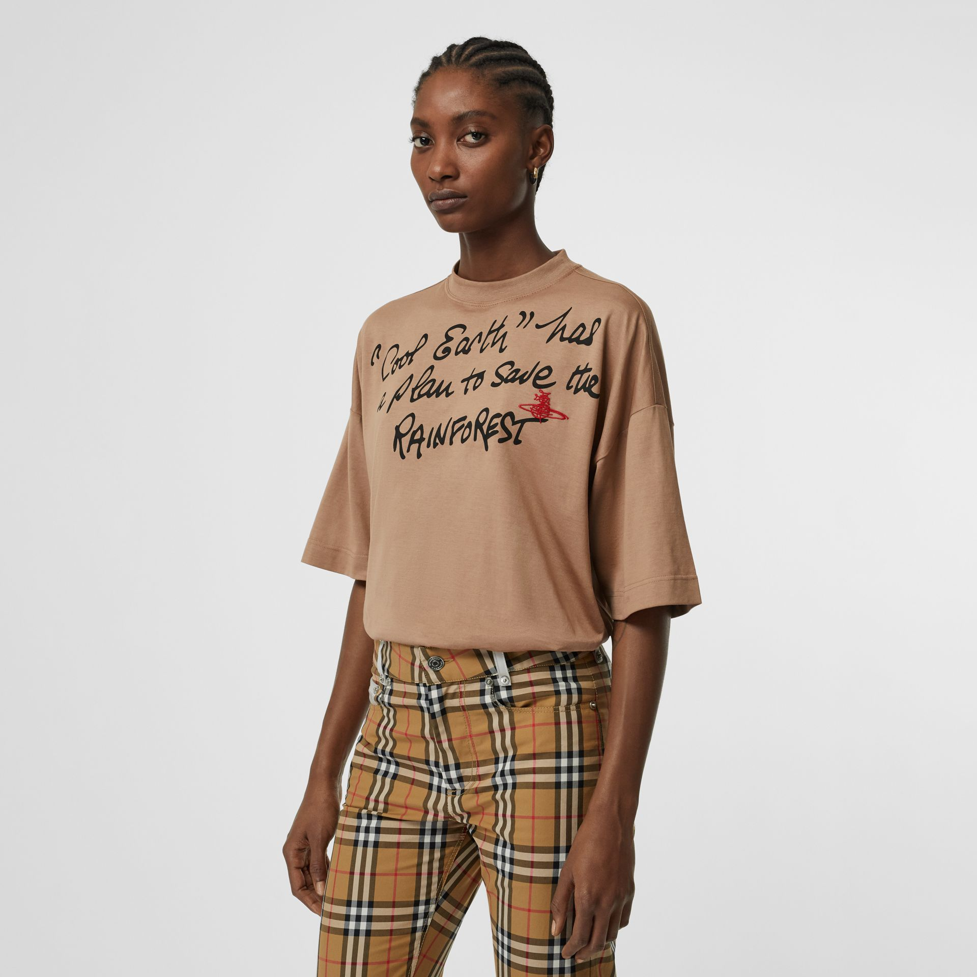 Slogan Print Cotton Oversized T-shirt in Antique Pink | Burberry Australia - gallery image 5