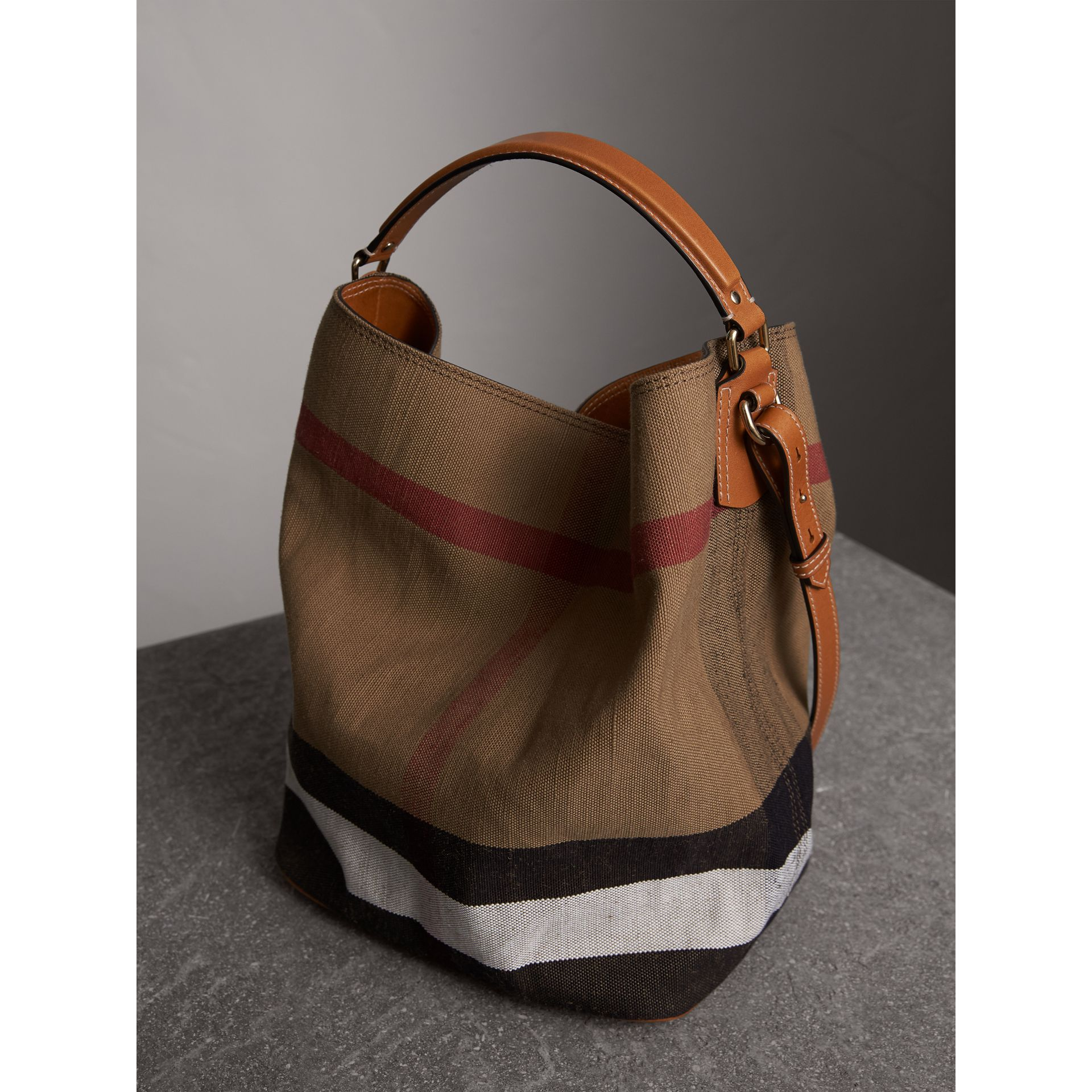 Medium Canvas Check Hobo Bag in Saddle Brown - Women | Burberry - gallery image 7