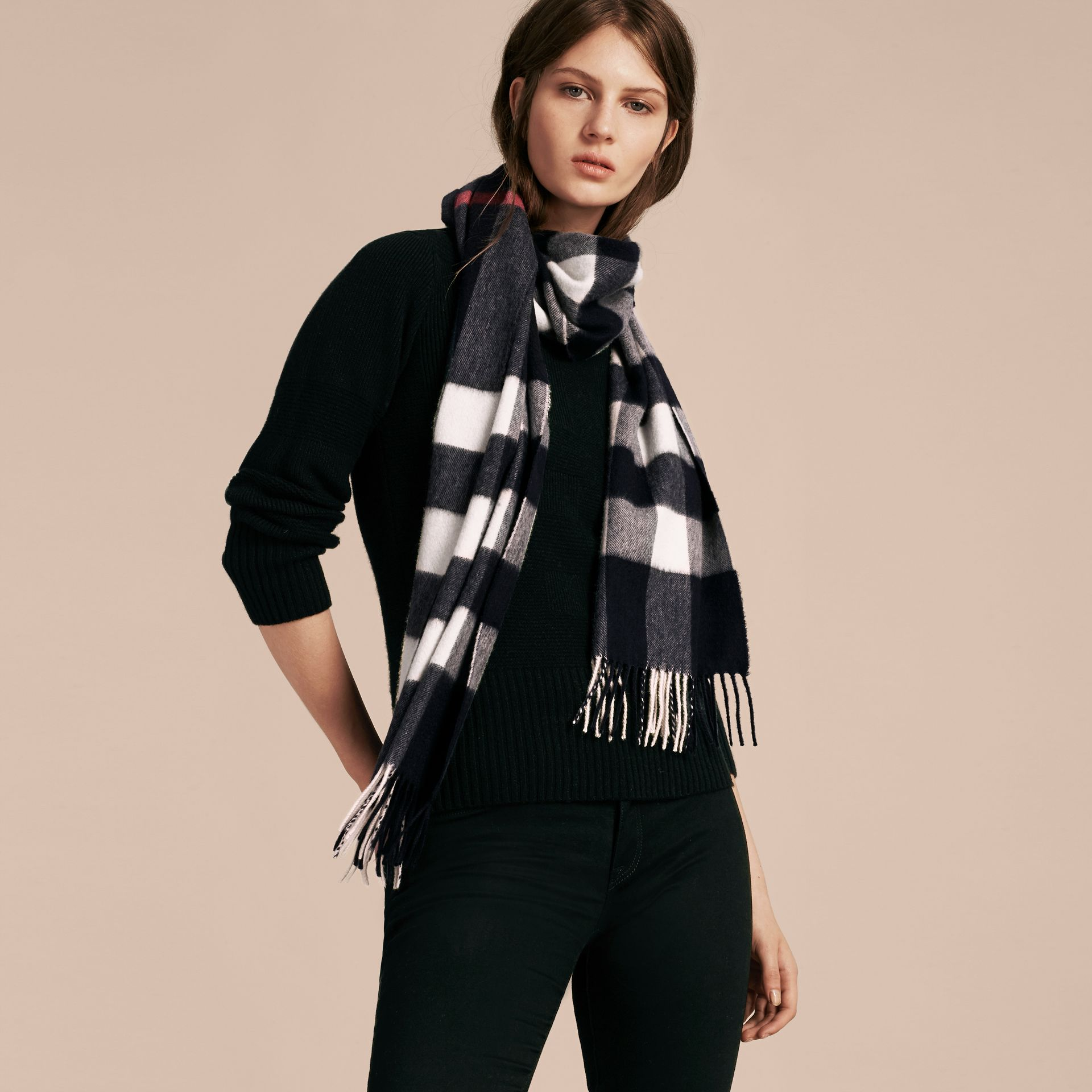 The Large Classic Cashmere Scarf in Check Navy - gallery image 3
