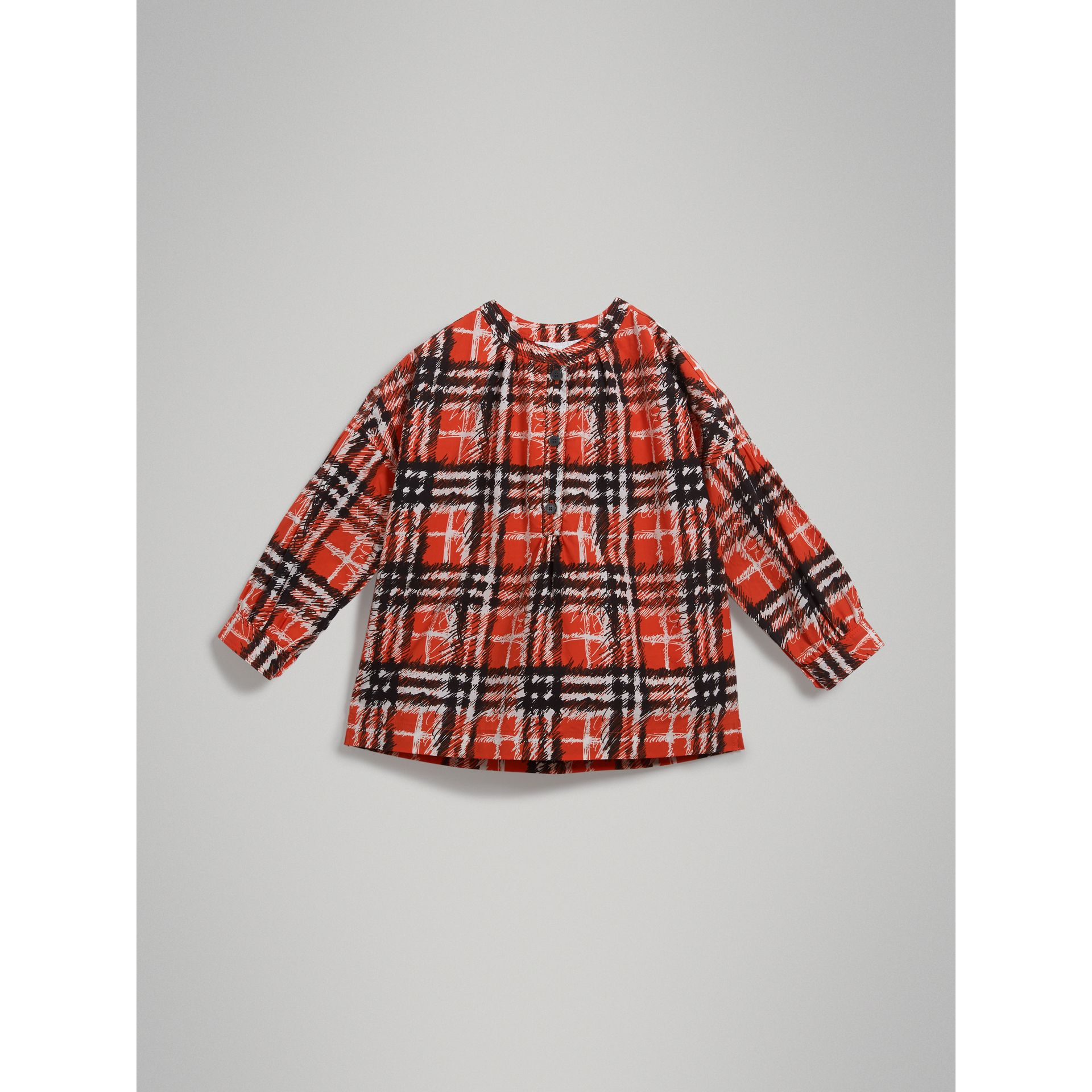 Scribble Check Print Cotton Tunic Shirt in Bright Red - Girl | Burberry - gallery image 2