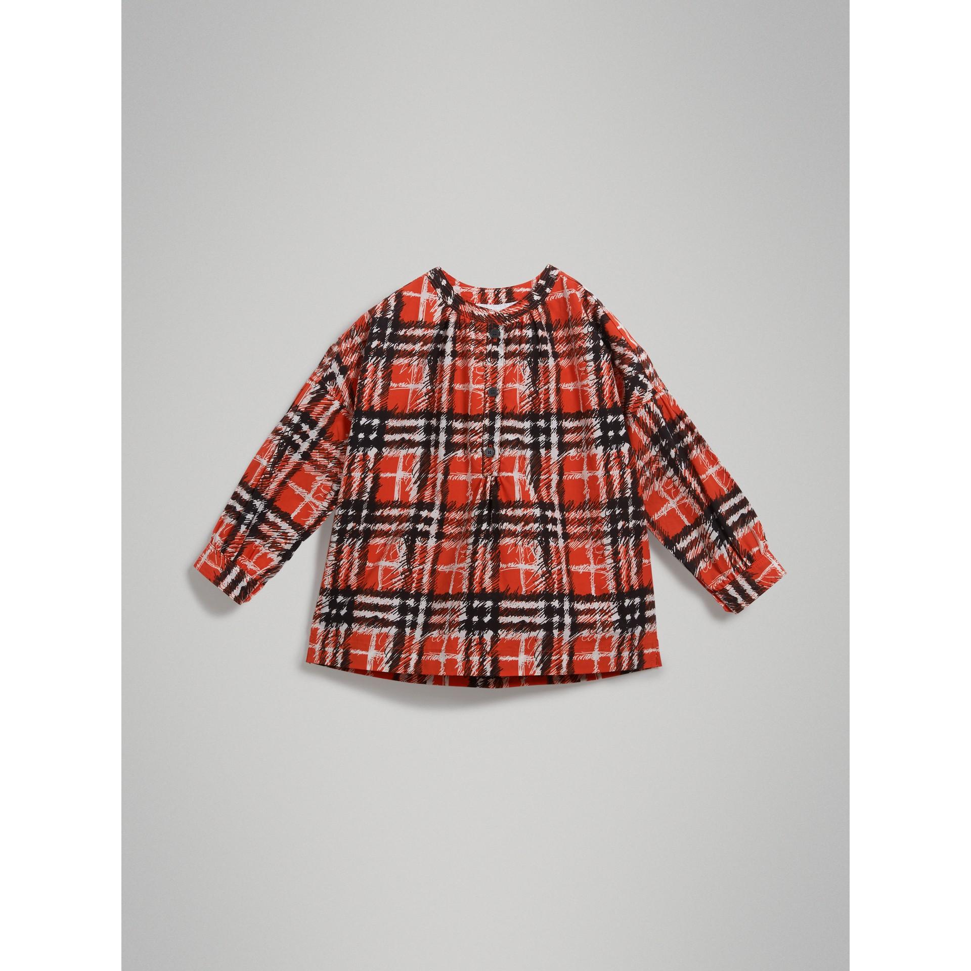 スクリブルチェックプリント コットン チュニックシャツ (ブライトレッド) - ガール | バーバリー - ギャラリーイメージ 2