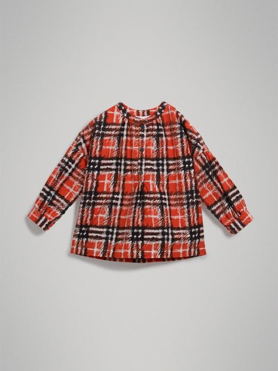 スクリブルチェックプリント コットン チュニックシャツ (ブライトレッド) - ガール | バーバリー - cell image 2