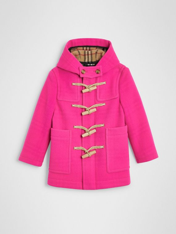 Double-faced Wool Duffle Coat in Neon Pink