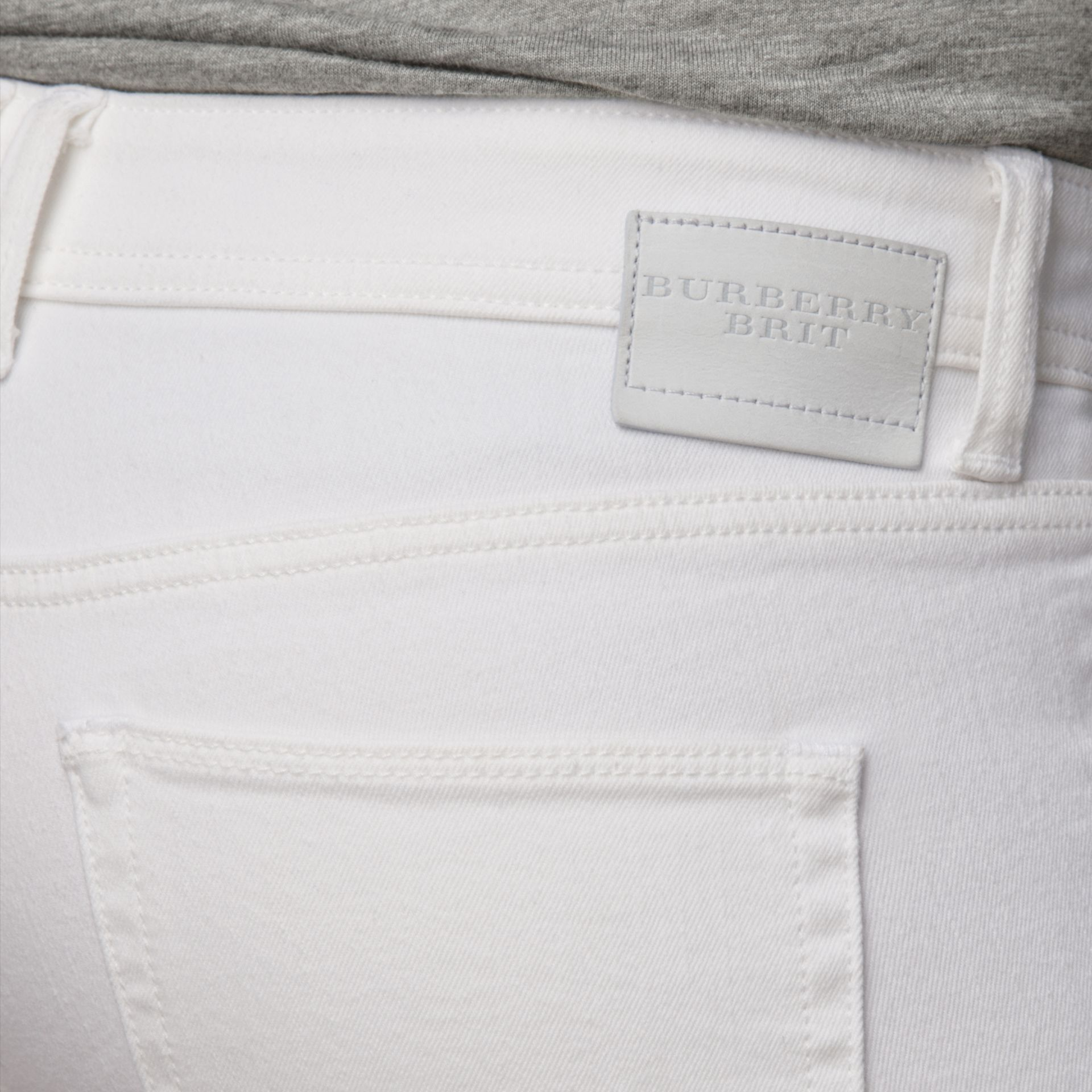Skinny Fit Low-Rise White Jeans - Women | Burberry - gallery image 4