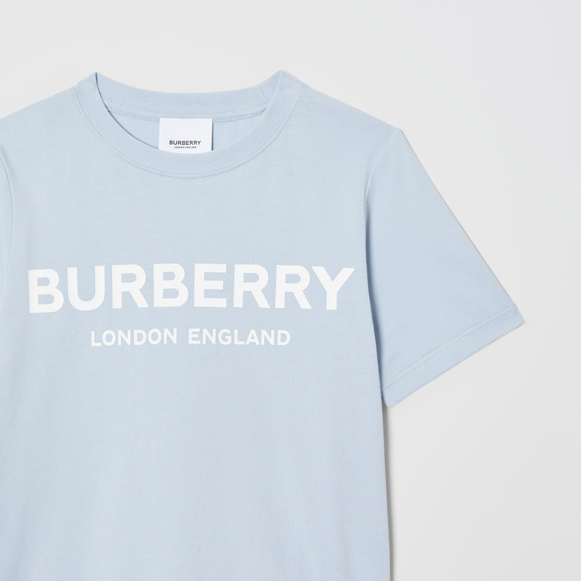 Logo Print Cotton T-shirt in Light Blue | Burberry Australia - gallery image 4