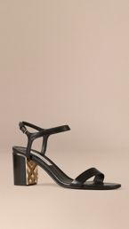 Check Detail Leather Sandals