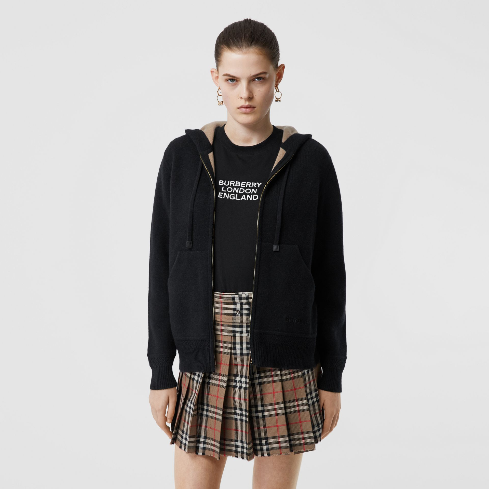 Embroidered Logo Cashmere Hooded Top in Black - Women | Burberry - gallery image 4