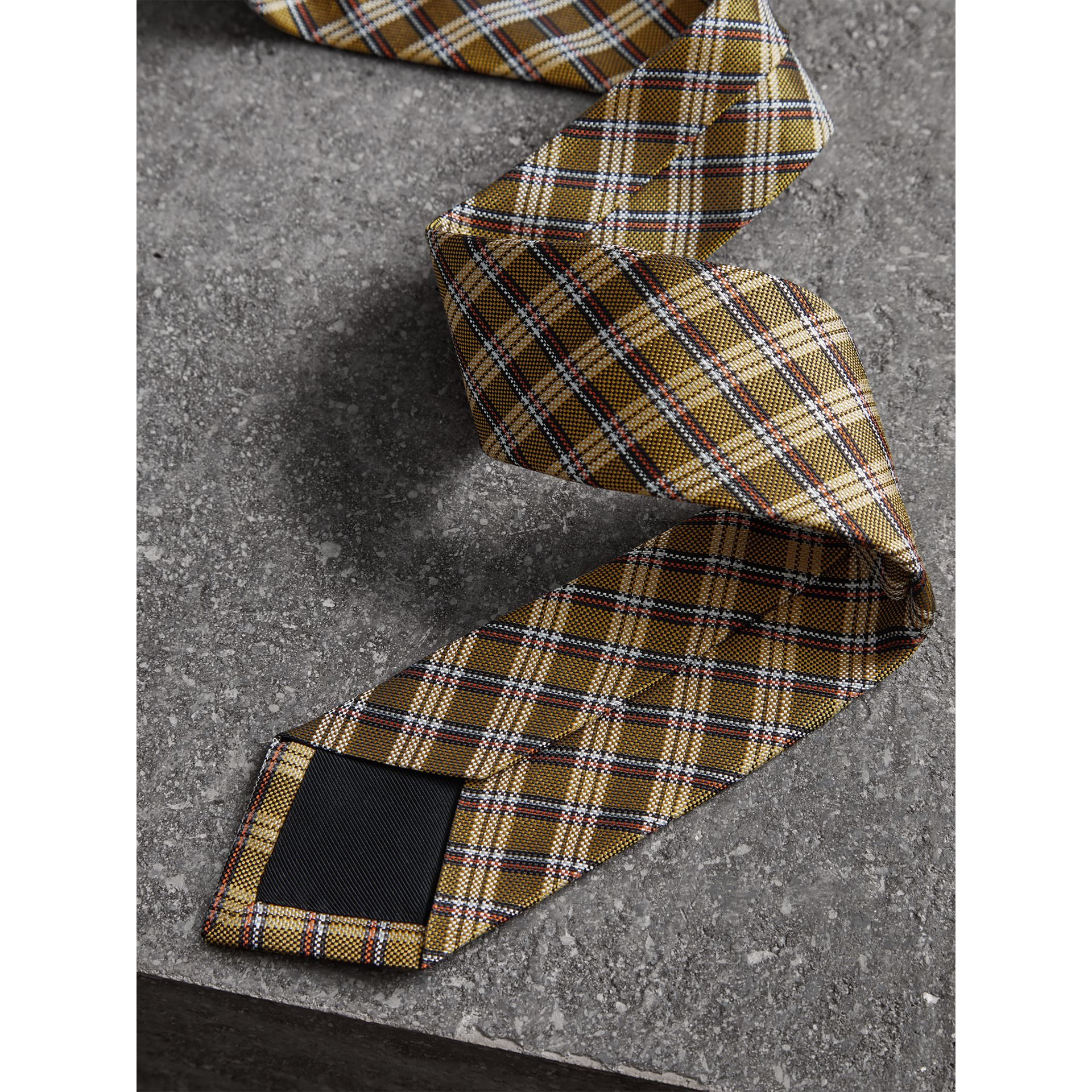 Slim Cut Check Silk Jacquard Tie in Saffron Yellow - Men | Burberry United Kingdom - gallery image 1