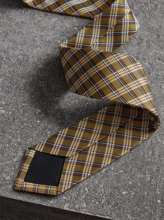 Slim Cut Check Silk Jacquard Tie in Saffron Yellow - Men | Burberry United Kingdom - cell image 1