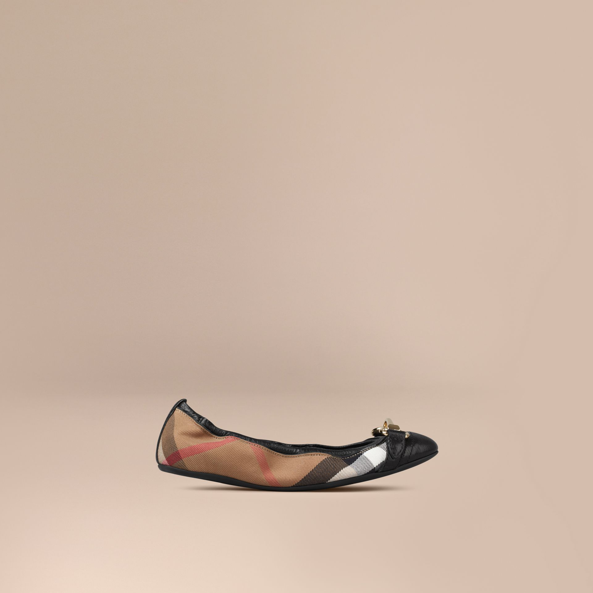 Black Buckle Detail House Check Ballerinas - gallery image 1