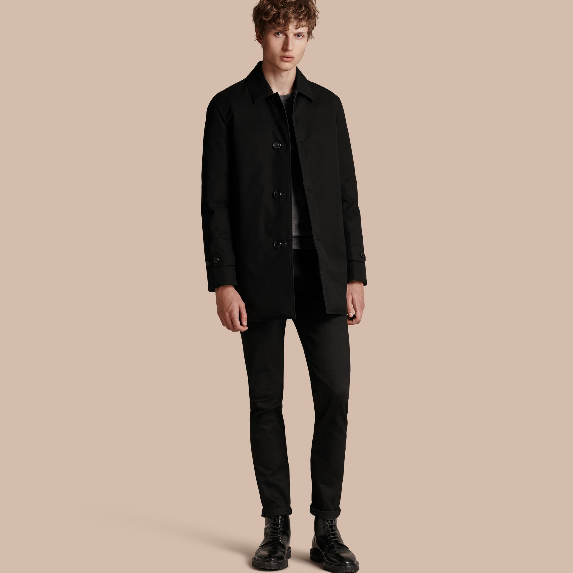 Black Reversible Down-filled Cotton Gabardine Car Coat - gallery image 1