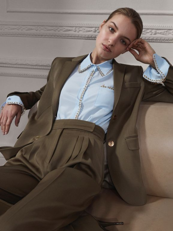 Press-stud Wool Twill Tailored Jacket in Warm Taupe - Women | Burberry United Kingdom - cell image 1