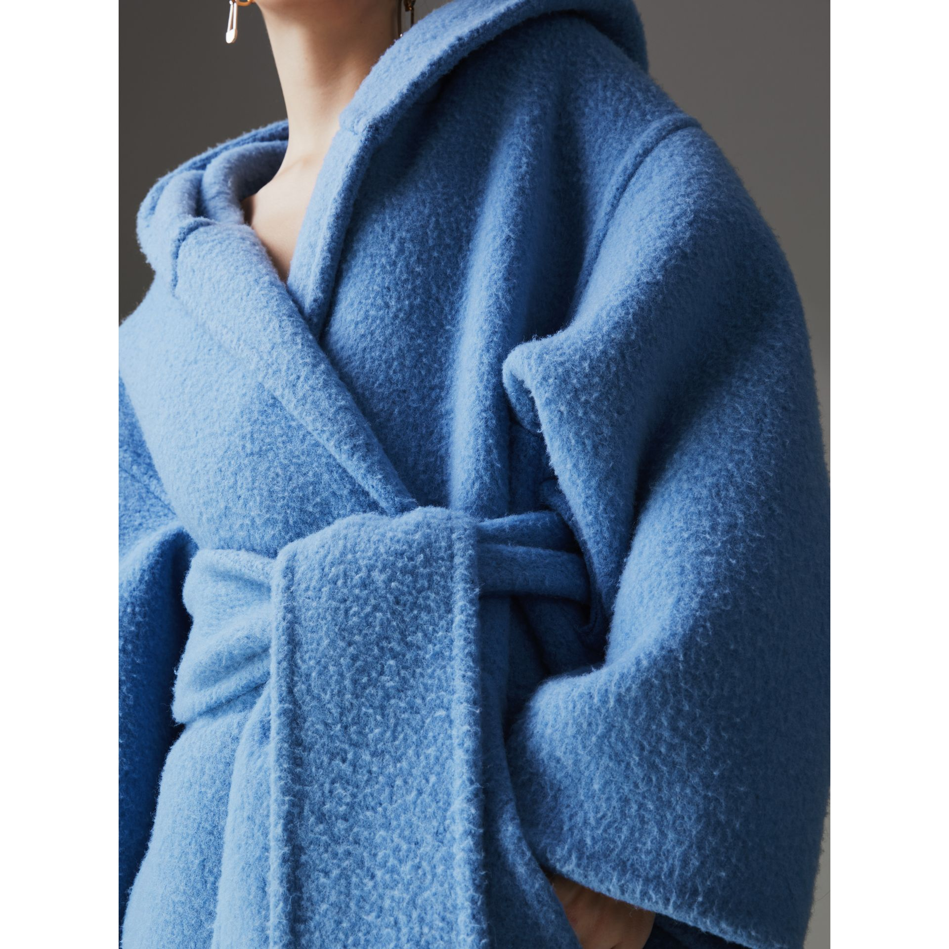 Alpaca Wool Blend Dressing Gown Coat in Hydrangea Blue - Women | Burberry Canada - gallery image 1