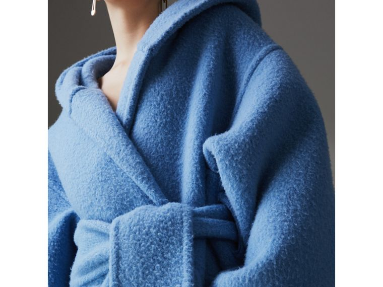 Alpaca Wool Blend Dressing Gown Coat in Hydrangea Blue - Women | Burberry - cell image 1